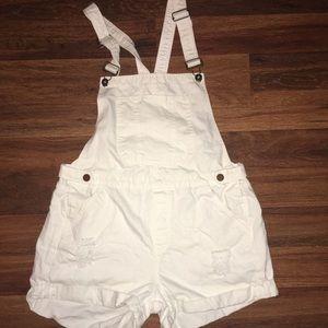 Bongo white overall shorts
